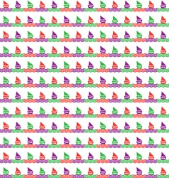 Colorful of boats and waves pattern vector image vector image