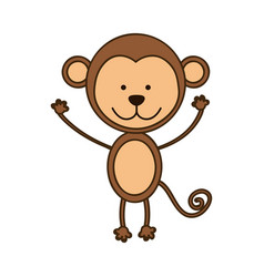 Colorful picture cute monkey animal vector