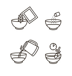 cooking instruction oatmeal black thin line icon vector image vector image