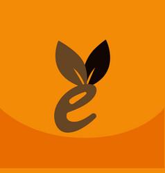 E letter eco logo safe leaf icon vector
