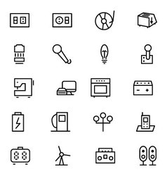 Electronics line icons 6 vector