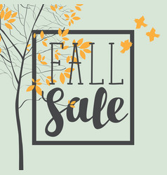 fall sale banner with inscription and trees vector image vector image
