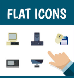flat icon computer set of processor pc computer vector image