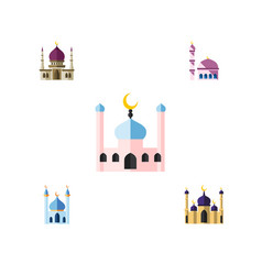 flat icon mosque set of muslim building vector image