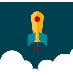 Flat rocket in space vector image vector image
