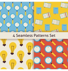 Four Flat Seamless Search Knowledge Idea and vector image vector image