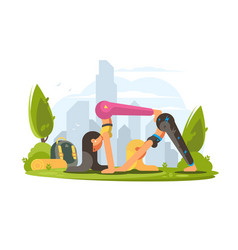 Girls practice yoga in park vector