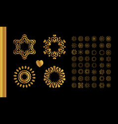 golden vintage round patterns on black vector image