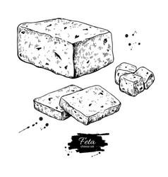 Greek feta cheese block drawing hand drawn vector