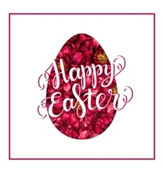 Happy Easter lettering on red flower egg vector image vector image