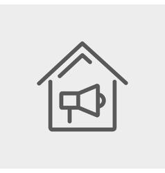 House fire alarm thin line icon vector