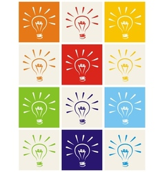Light bulb hand drawn colorful icon set isolated vector image vector image