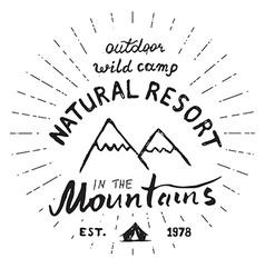 Mountains handdrawn sketch emblem outdoor camping vector image vector image