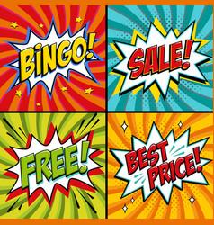pop-art web banners bingo free sale best price vector image