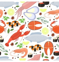 Seafood and spices background for restaurant menu vector