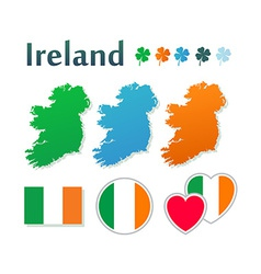 Set of icons with flags and map of Ireland vector image vector image