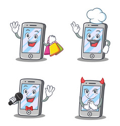 Set of iphone character with shopping chef devil vector