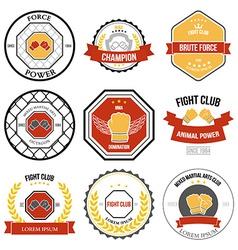 Set of mixed martial arts labels badges vector