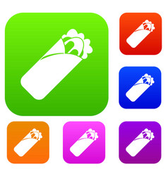 Shawarma sandwich set color collection vector