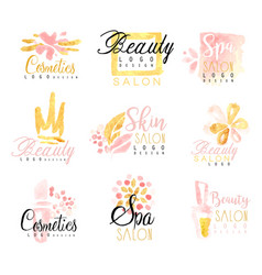 spa healthy beauty studio set for label design vector image