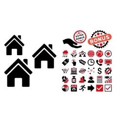 Village Buildings Flat Icon with Bonus vector image