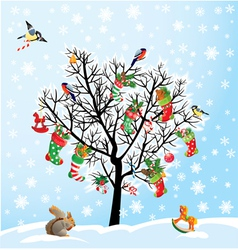 Winter tree with birds squirrel xmas shoes cand vector