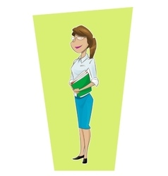 Woman secretary flat cartoon vector