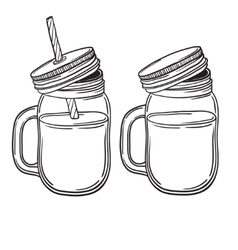 A set of juices in glass jars with straws vector