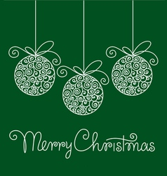 christmas card with balls and hand lettering vector image