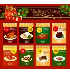 Traditional Christmas dishes for menu design vector image