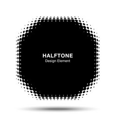Convex abstract halftone distorted polygon frame vector