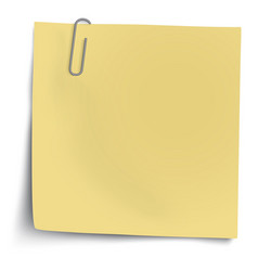 Yellow sticky note with metallic paper clip vector