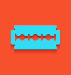 Razor blade sign whitish icon on brick vector