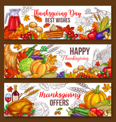 Thanksgiving day sketch harvest banners vector