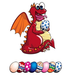 Dragon and easter eggs vector