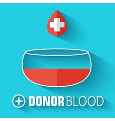 Flat donor blood background concept vector