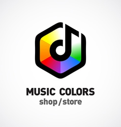 Music colors logo template colorful hex sign vector