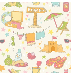 Seaside and summer background - seamless pattern vector