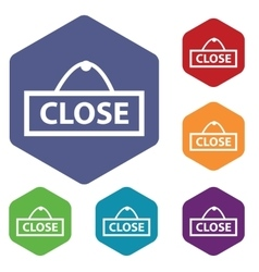 Close icon colored hexagon set vector