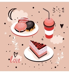 Delicious food sweet menu dessert set donut cake vector