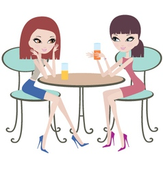two friends in cafe vector image