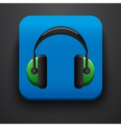 Headphone symbol icon on blue vector