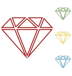 Diamond set of line icons vector