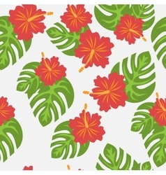 Set of tropical palm leaves and flowers hibiscus vector
