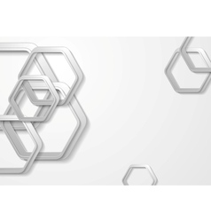 Abstract grey paper tech hexagon shapes background vector image