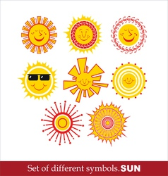 Set cartoon sun vector