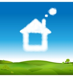 Abstract house from clouds in blue sky and green vector