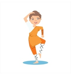 Boy in shaolin monk orange clothes demonstrating vector
