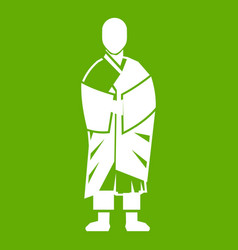 buddhist monk icon green vector image vector image