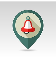 Christmas bell flat pin map icon vector